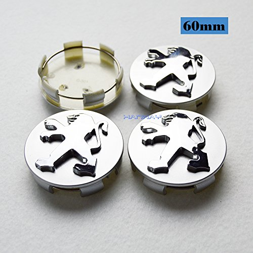 Hanway 4pcs 60mm Car Styling Accessories PEUGEOT Emblem Badge Sticker Wheel Hub Caps Centre Cover PEUGEOT 206 207 307 301 308 408 508 3008