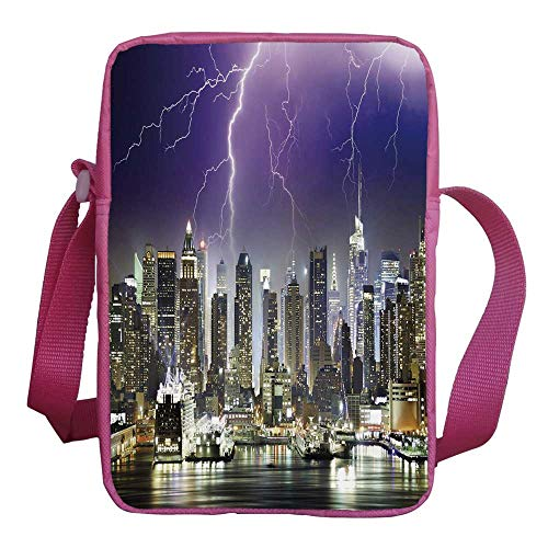 (City Stylish Kids Crossbody Bag,Storm and Thunder at Night in New York City Apocalyptic Dramatic View for Girls,9