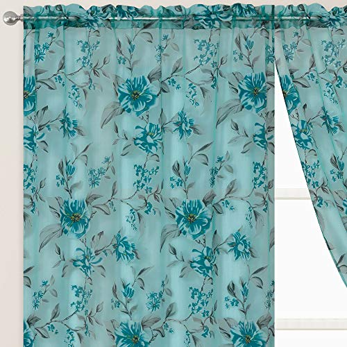 GOHD Golden Ocean Home Decor Roman Romance. Burnt-Out Printed Organza Window Curtain Panel. Floral Print Organza Voile Sheer Panels (Teal Green, 55 x 84 inches x 2pcs)
