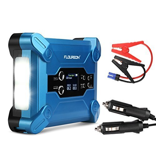 FLOUREON 500A 15000mah Car Jump Starter Auto Battery Booster Motorcycles Power External Battery Pack Built in Air Compressor(87 PSI) with Full HD LCD LED Lighting Car interior Start Cable