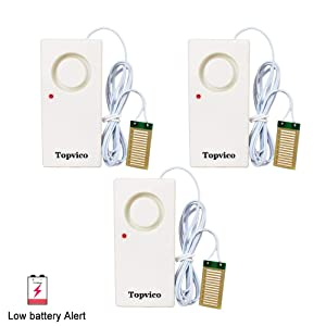 Topvico Water Leakage Alarm Detector Sensor 120dB Flood Alert Leak Detection Work Alone Home Security Low Battery Alert (3 Pack)