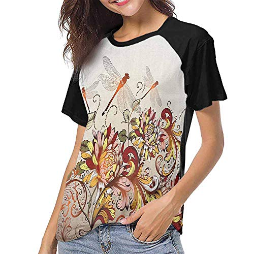 (Spring,T Shirt Female Tight S-XXL(This is for Size Extra Large) Flower Field Foliage with Dragonflies Magical Season Shabby Classic Leaves Patte,Summer Casual Short Sleeve)