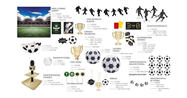 20465abed Kit Festa Aniversario Futebol 24 Pessoas 86 Pcs  Amazon.com.br  Papelaria e  Escritório