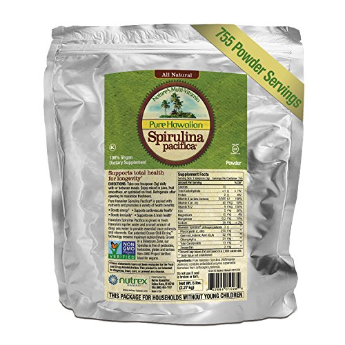 Pure Hawaiian Spirulina Powder 5 lb Bulk Bag – Boosts Energy and Supports Immunity – Vegan, Non GMO – Natural Superfood Grown in Hawaii by Nutrex Hawaii
