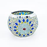 AWEVILIA Handmade Mosaic Sunflower Glass Bowl Candle Holders Votive Tealight Candleholders Home Decor Christmas Party