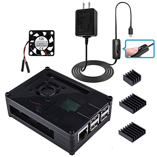 Miuzei Raspberry Pi 3B+ Case with Fan, 3pcs Heatsinks, 2.5A Power Supply with ON/Off Switch Cable Compatible with Raspberry Pi 3 Model B+(B Plus), Pi 3 Model B.