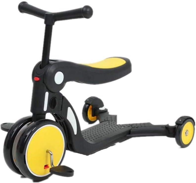 Scooter multifunción para niños 5 en 1: Ede Llevar un Triciclo multifunción, niños de 1 a6 años de Altura Ajustable Sistema de Doble Freno más Rueda de Amortiguador