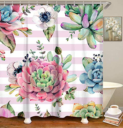 LIVILAN Fabric Shower Curtain Set with 12 Hooks Tropical Succulent Plants Shower Curtain White and Pink Stripes Decorative Bathroom Accessories,Machine Washable, 70.8