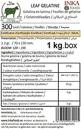 Gelatina en lamina Halal- 1kg- 300 Laminas. Sabor Neutro