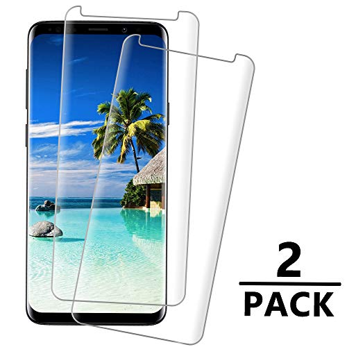Galaxy S9 Screen Protector, 3D Screen Coverage Glass [Easy to Install][9H Hardness][HD-Clear][Case Friendly][Anti-Fingerprint] Tempered Glass Screen Protector for Samsung Galaxy S9 [2 Pack]
