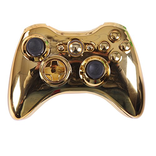 HDE Controller Shell for Xbox 360 Gold Chrome Shell Case Wireless Gaming Replacement Cover Kit