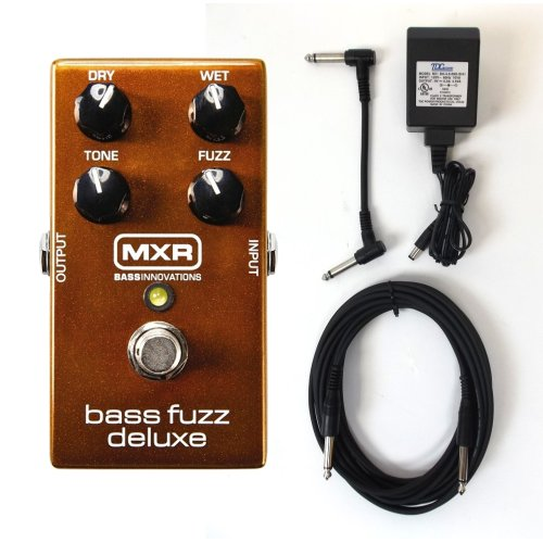 MXR M84 Bass Fuzz Deluxe Pedal Fuzz Pedal Bundle for Bass Guitar with Dry, Wet, Tone and Fuzz Controls with Instrument Cable Patch Cable and ac power adapter