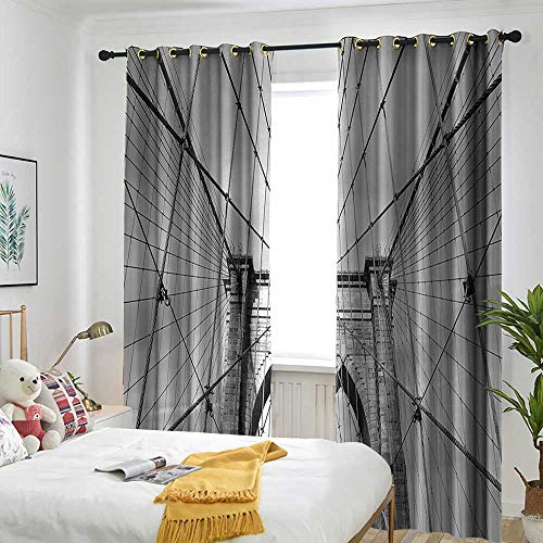 AndyTours Landscape Living Room/Bedroom Window Curtains USA New York Brooklyn Bridge Cityscape Scenery Photo Print Embossed Thermal Weaved Blackout 96