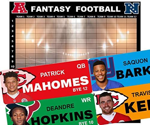 Fantasy Football Draft Board Kit 2019 - Full Color Board & Labels