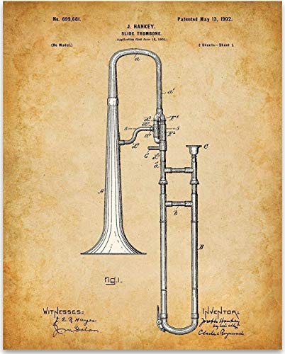 Trombone - 11x14 Unframed Patent Print - Great Music Room Decor or Gift Under $15 for Musicians