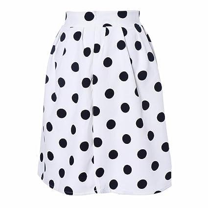 Faldas, Challeng Falda de paraguas con lunares Bodycon mujer Faldas de soplo retro (l