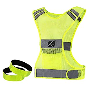 Reflective Vest with Pocket + Free Armbands, Great for Running, Cycling, Biking, Motorcycle. Best Safety Gear for Men & Women, High Visibility, Comfortable & Adjustable. (Small/Medium)