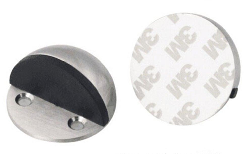 Floor Door Stoppers - EvaGO Stainless Steel Safety Door Stopper with Rubber Bumper, Floor Mounted Doorstop with Hardware Screws and 3M Adhesive, Heavy Duty Brushed Finish Door Stop (5) by EvaGO (Image #5)