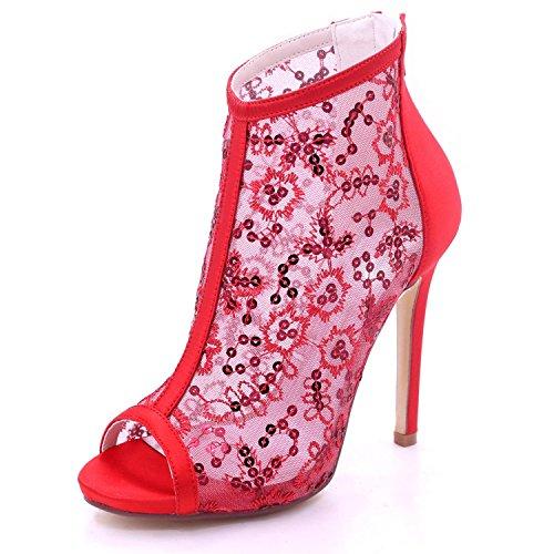Color Spitze 01B Frauen Toe 7216 Heel High Satin Reißverschluss YC Brautjungfer Red und L Peep Hochzeit Multi w01Fnx