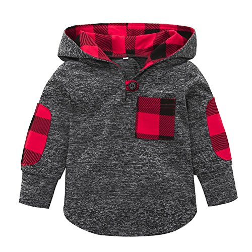 KONFA Toddler Baby Boys Girls Stylish Plaid Hooded Sweatshirt Coat,Suitable for 0-3 Years Old,Winter Warm Jackets Thick Cloak Tops (Gray, 12-18 Months)