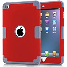 iPad Mini Case,Lantier Cool Series 3 in 1 Hybrid Armor Design PC+ Silicone Defender Case Combo Hard Soft Shockproof Thin Slim Lightweight Case Cover for iPad Mini 1 2 3 Light Gray+Red