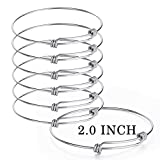 Best Steel Charms - Sromay 8 Pieces Wire Blank Bracelet Stainless Steel Review