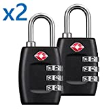 TSA Approved Locks (2-Pack) Travel Luggage 3 Combination Resettable Padlock TL01-PAIR