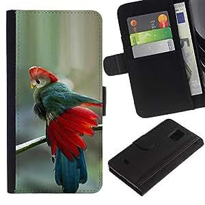 LASTONE PHONE CASE / Lujo Billetera de Cuero Caso del tirón Titular de la tarjeta Flip Carcasa Funda para Samsung Galaxy S5 Mini, SM-G800, NOT S5 REGULAR! / teal red feathers blue tropical bird