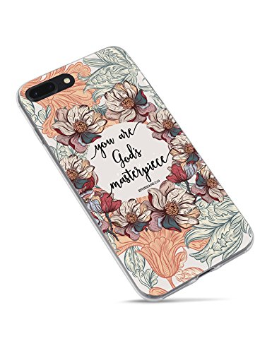 Christian Bible Verses Quotes Case You are God's Masterpiece Soft Flexible Rubber Floral Pattern Protective Case Cover for iPhone 7 Plus and iPhone 8 Plus ()