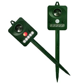 2 Uidades Repelente ultrasonico tipo energía solar, KENO ahuyentador para pájaros, gatos y perros, ratas: Amazon.es: Jardín