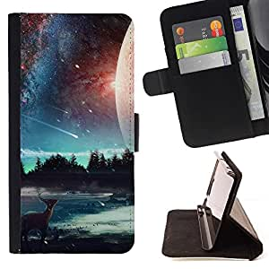 Momo Phone Case / Flip Funda de Cuero Case Cover - Hermosa Elk Galaxy;;;;;;;; - Samsung Galaxy Note 4 IV