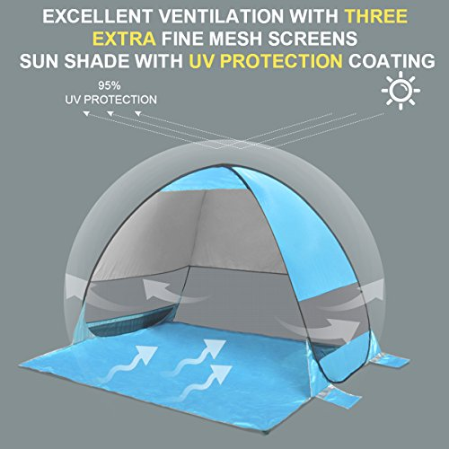 b364d4338c27 SLB Pop Up Beach Tent, Sun Shelter Shade Easy Up Portable Anti UV ...