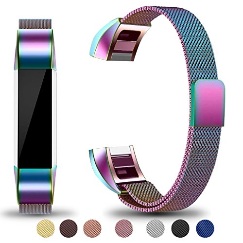 Maledan Metal Bands Compatible with Fitbit Alta and Alta HR, Stainless Steel Milanese Loop Replacement Accessories Bracelet Strap with Unique Magnet Lock for Fitbit Alta/Alta HR, Colorful, Small