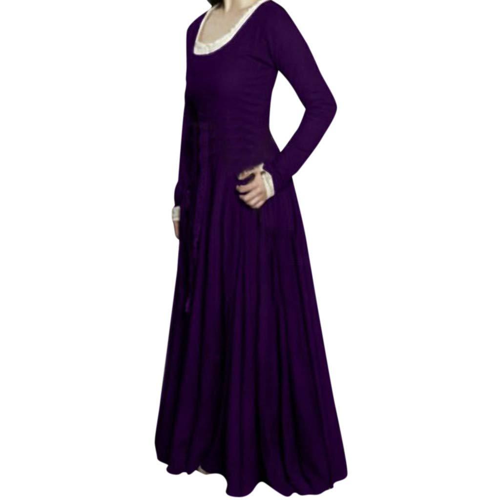 Nmch Plus Size Dress for Women Vintga Long Sleeve Solid Loose Casual Long Dress Cos Play Fashion Dresses(Purple,XXXL)