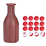 Billiard Shaker Bottle,Pool Tally Shaker Bottle Pool Dice Billiards Accessory Brown with 16 Numbered Balls