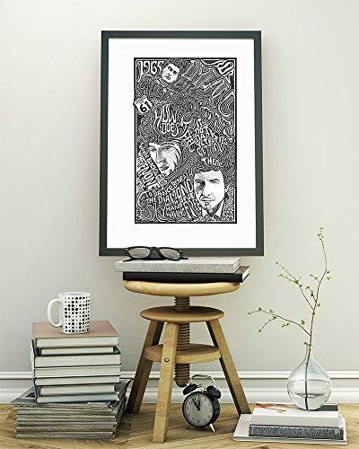 (Bob Dylan - Inspired Letterpress Art Print Poster - Detailed Pen and Ink Original Hand Drawing 11
