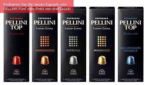 Pellini Caffè Nespresso kompatibel, Probierpaket mit 5 Sorten (5 x 10 Kapseln), 1er Pack (1 x 250 g)