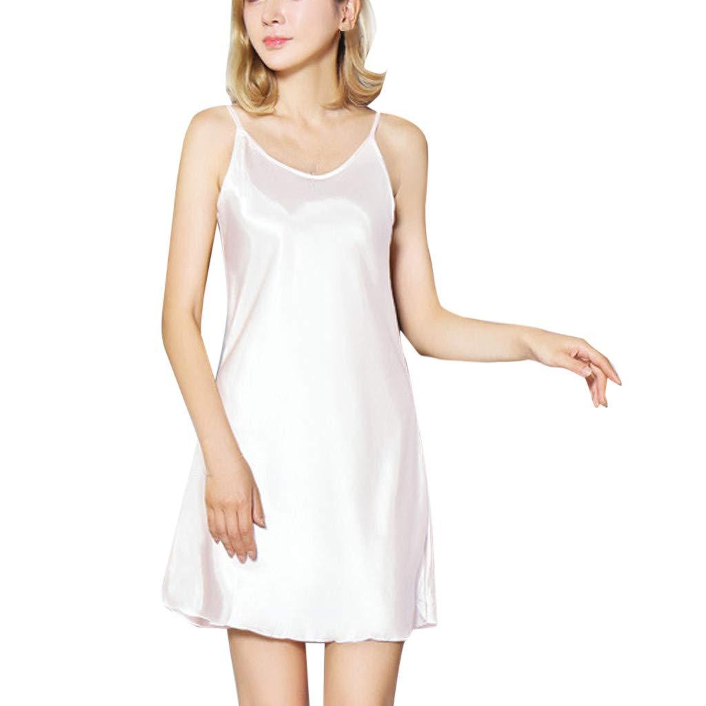 Sumen Teen Girls DressLingerie Nightwear Underskirt Plus Size Sexy Satin Lotus Hem Sling Women Camisole White