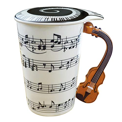 Music Coffee Mug With Lid And Violin Handle 13.5 Ounce, Water Tea Drinks Cup , Gift For Music Lover/Teacher/Friend