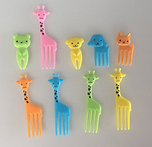 sea-junop Lovely Miniature Animal Lunch Box Fork Children Fruit Fork-10pcs