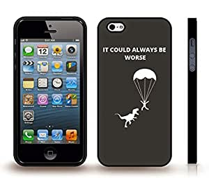 """iPhone 4 Case with """"If you're happy..."""" Funny, Red and White Font on Black, Red T-Rex , Snap-on Cover, Hard Carrying Case (White)"""