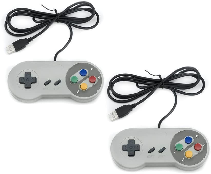 QUMOX 2 x Nintendo Juego de PC Gamepad Controlador SFC Mando de Juego para Super Famicom Windows PC USB