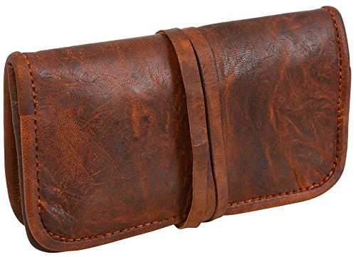 Universal Genuine Leather Tobacco Pipe Bags Stash Case Medicine Lock Bag Make-Up Wrap Case Stationery Pouch Battery Headphone Holder Travel Storage Container Vintage Brown for Men & Women