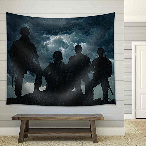 United States Army Rangers on The Sunset Fabric Wall
