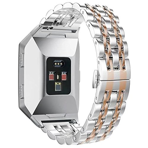 FOLICE for Fitbit Ionic Stainless Steel Strap, Fitbit Ionic Watch Metal Band Clasp(Move Links by Hand, Seven Beads Strap) + Adapter for Fitbit Ionic Watch (Rose Gold)
