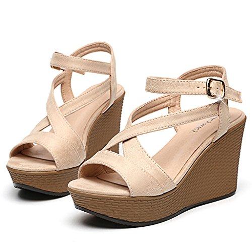 Été Rome Talons Peep Toe Plate-forme Sandales Compensées Sexy Chaussures Femmes Mode Casual (couleur: Noir, Taille: 38) Beige