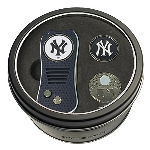 Golf Cap Ball Divot Tool (Team Golf MLB New York Yankees Gift Set Switchblade Divot Tool, Cap Clip, & 2 Double-Sided Enamel Ball Markers, Patented Design, Less Damage to Greens, Switchblade Mechanism)