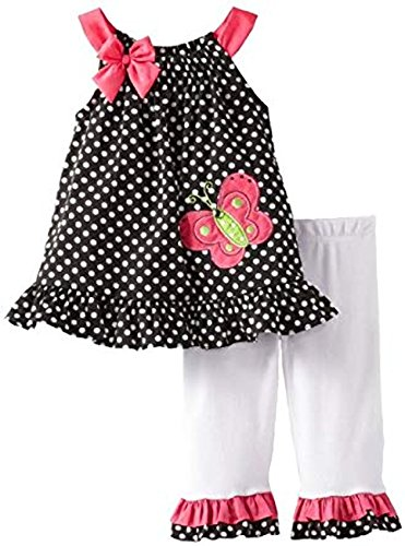 Capris Rare Pink Editions (Rare Editions Baby Girls Butterfly Capri Pants Set - (Size - 12 Months))