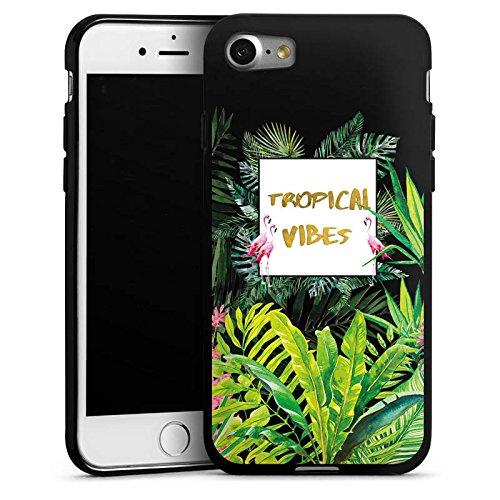 Apple iPhone 7 Silikon Hülle Case Schutzhülle Muster ohne Hintergrund Flamingo Dschungel