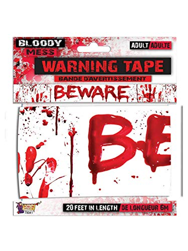 Forum Novelties X79041 Bloody Beware Warning Tape, Red, White, One Size]()